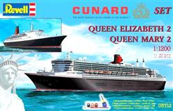 Slepovací model Revell 1:1200 GS Cunard Line set - modely Qeen Mary 2 a Queen Elisabeth