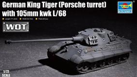 Trumpeter slepovací model German King Tiger ( Porsche turret) with 105mm kwk L/68 1:72
